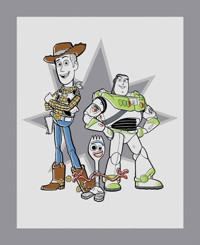Picture of Disney Toy Story 4 Friends Sporky Woody Buzz Large Cotton Fabric Panel