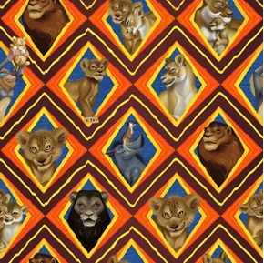 Disney Lion King Character Mosaic 2019 Movie Cotton Fabric