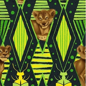 Disney Lion King Jungle Fun Simba Geometric Green Cotton Fabric