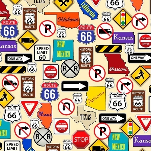 This & That II Route 66 Road Signs Highway Sign Cream Cotton Fabric