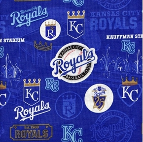 MLB Baseball Kansas City Royals 25th Anniversary Stadium Cotton Fabric