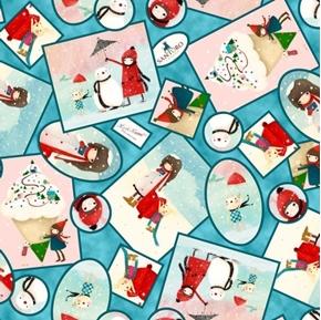 Warm Wishes Winter Vignettes Little Girl Snowman Santoro Cotton Fabric