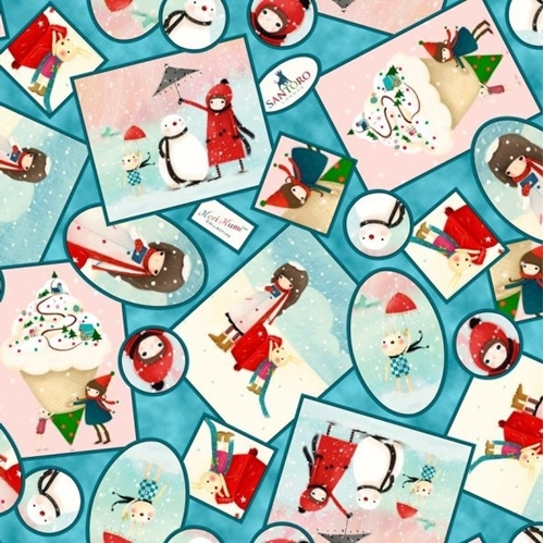 Picture of Warm Wishes Winter Vignettes Little Girl Snowman Santoro Cotton Fabric