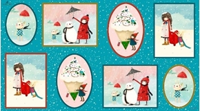 Warm Wishes Winter Vignette Patches Santoro 24x44 Cotton Fabric Panel