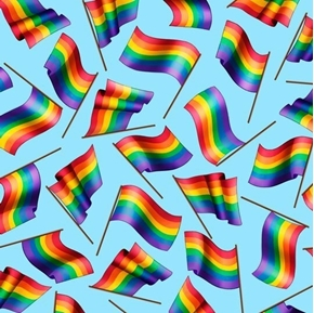 Picture of This & That II Rainbow Flags on Blue Cotton Fabric