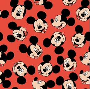 Picture of Disney Mickey Traditional Mickey Mouse Face Toss Red Cotton Fabric