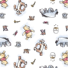 Disney Pooh Nursery Winnie the Pooh and Friends White Cotton Fabric