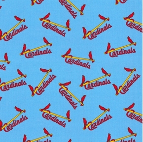MLB Baseball Saint Louis Cardinals Cooperstown Sky Blue Cotton Fabric