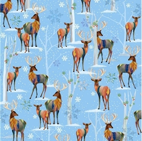 First Frost Deer Scenic Artistic Winter Deer in Snow Cotton Fabric