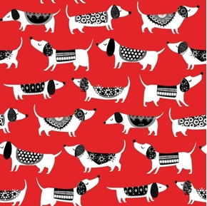 Hot Diggity Dogs Hot Dogs in Sweaters Whimsical Red Cotton Fabric