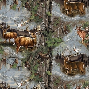 Picture of Realtree Heritage Proud Scenic Deer in the Woods Cotton Fabric