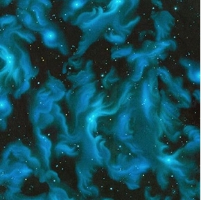 The Living Universe Celestial Clouds and Stars Blue Cotton Fabric