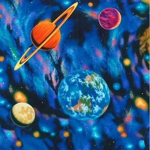 The Living Universe Celestial Planets Solar System Cotton Fabric
