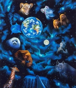 The Living Universe Celestial Animal Galaxy Large Cotton Fabric Panel