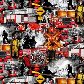 Picture of Fire and Rescue Firefighter Fireman Emergency Responder Cotton Fabric