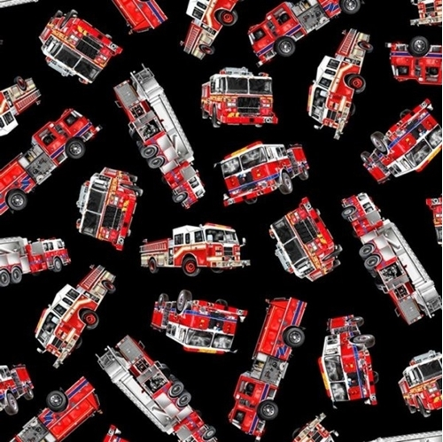 Picture of Fire and Rescue Tossed Firetrucks Firefighter Fire Truck Cotton Fabric