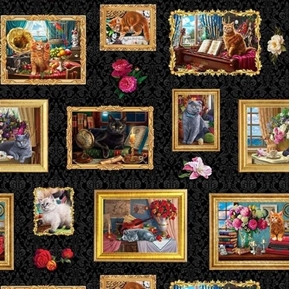 Picture of Madame Victoria's Elegant Cats Framed Cat Photos Cotton Fabric