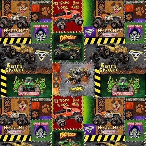 Monster Jam Monster Truck Patches Grave Digger Trucks Cotton Fabric