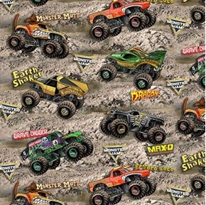 Monster Jam Tossed Monster Trucks on Dirt Earth Shaker Cotton Fabric