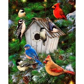 Bird Houses and Pines Songbirds in Winter Large Cotton Fabric Panel