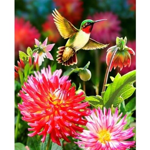Dahlias and Hummingbird Hummingbirds Flowers Large Cotton Fabric Panel