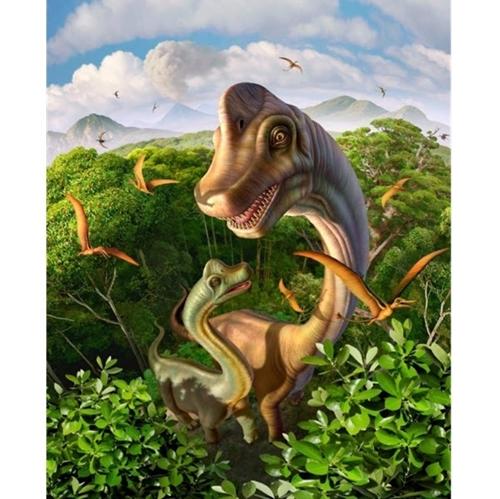 Brachiosaurus Dinosaur Mother and Young Dino Large Cotton Fabric Panel