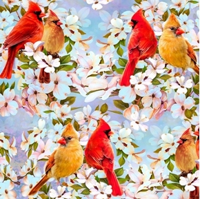 Picture of Cardinal Pair and Dogwood Cardinals Birds and Flowers Cotton Fabric