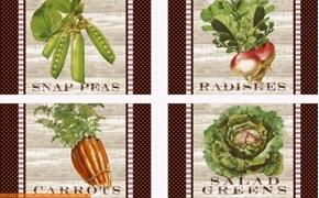 Market Place Vegetables Carrots Peas Radishes 24x44 Pillow Panel Set