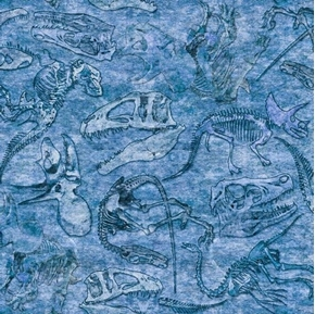 Picture of Lost World Dino Fossils Dinosaur Bones Blue Fossil Cotton Fabric