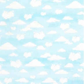 Bunny Shaped Clouds White Rabbit Cloud in Sky Cotton Fabric