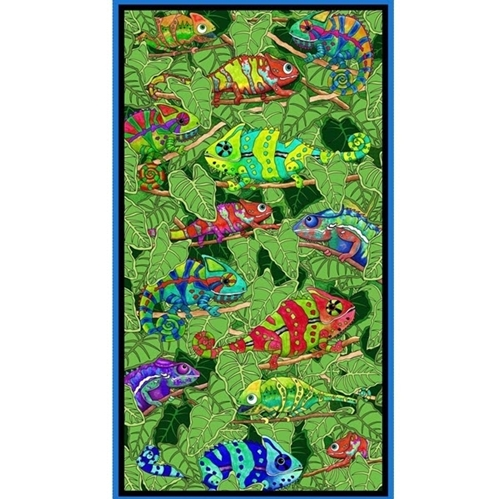 Color Me Chameleon Colorful Whimsical 24x44 Cotton Fabric Panel