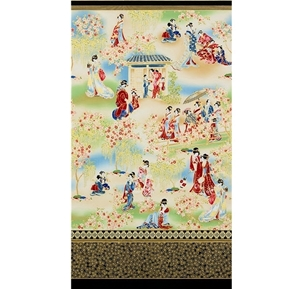 Imperial Collection Asian Scene Metallic 24x44 Cotton Fabric Panel