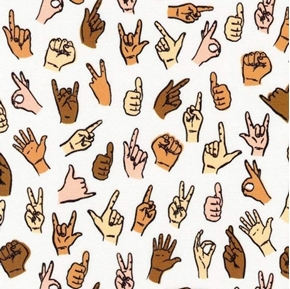 Picture of Hello Lucky Sign Language Signing Hands Cotton Fabric