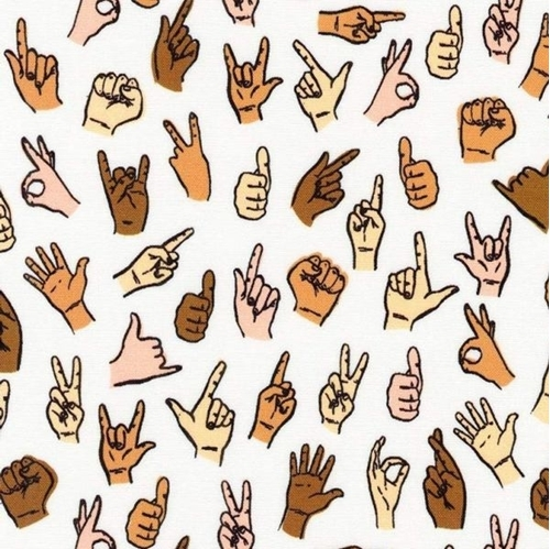 Hello Lucky Sign Language Signing Hands Cotton Fabric