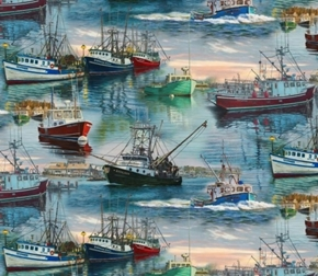 At the Harbor Commercial Fishing Ships Boats Digital Cotton Fabric
