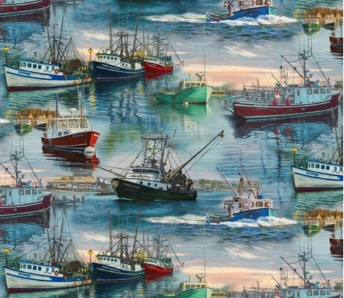 Picture of At the Harbor Commercial Fishing Ships Boats Digital Cotton Fabric