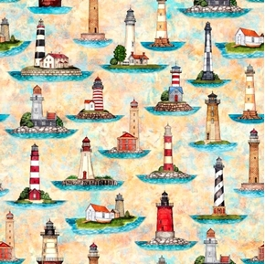 Picture of Smooth Sailing Lighthouses Light House Cream Beach Cotton Fabric