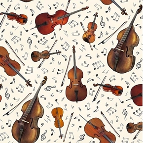 Jazz String Instruments Music Notes Violin Cello Cream Cotton Fabric