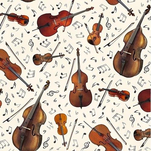 Jazz String Instruments Music Notes Violin Cello Cream Cotton Fabric
