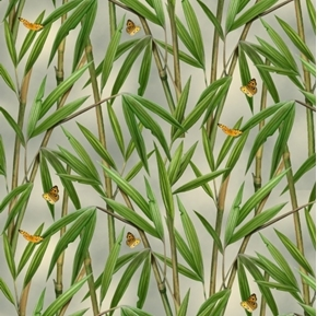 Landscape Medley Bamboo Plants and Butterflies Cotton Fabric