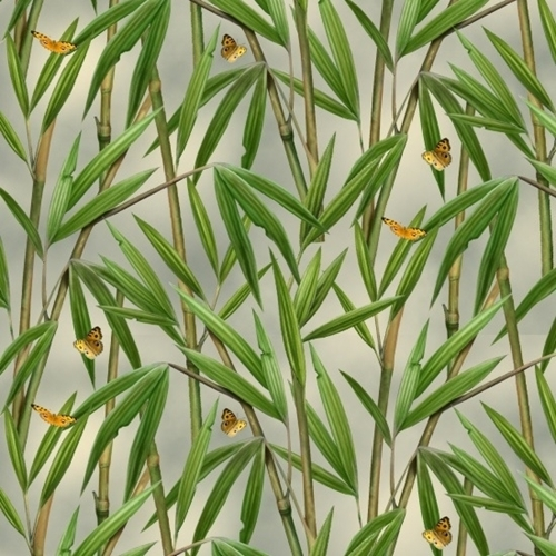 Picture of Landscape Medley Bamboo Plants and Butterflies Cotton Fabric