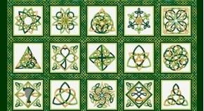 Irish Folk Celtic Knot Blocks Emerald Green 24x44 Cotton Fabric Panel