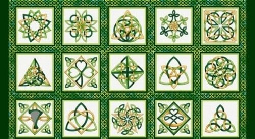 Picture of Irish Folk Celtic Knot Blocks Emerald Green 24x44 Cotton Fabric Panel