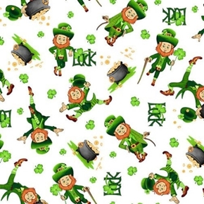 Picture of Irish Folk Leprechaun Toss St Pats Luck White Cotton Fabric
