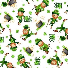 Irish Folk Leprechaun Toss St Pats Luck White Cotton Fabric