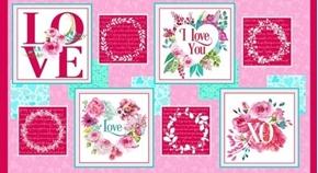 Love Letters Valentine Blocks Love You XOXO 24x44 Cotton Fabric Panel