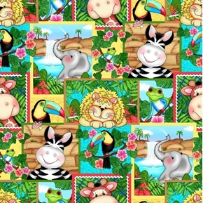 Picture of Bazooples Waterfall Zoo Animals Waterfalls Patch Cotton Fabric