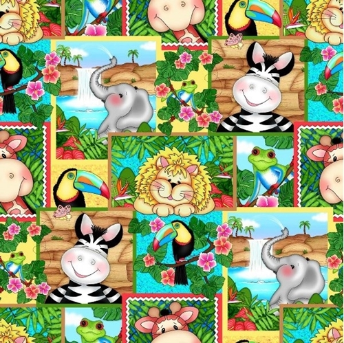 Bazooples Waterfall Zoo Animals Waterfalls Patch Cotton Fabric