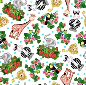 Bazooples Waterfall Zoo Bazoople Tossed Animals Cotton Fabric
