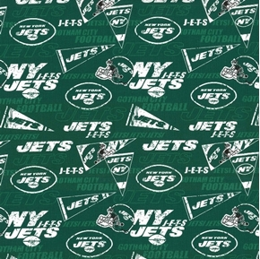 NFL Football New York Jets Retro 18x29 Cotton Fabric